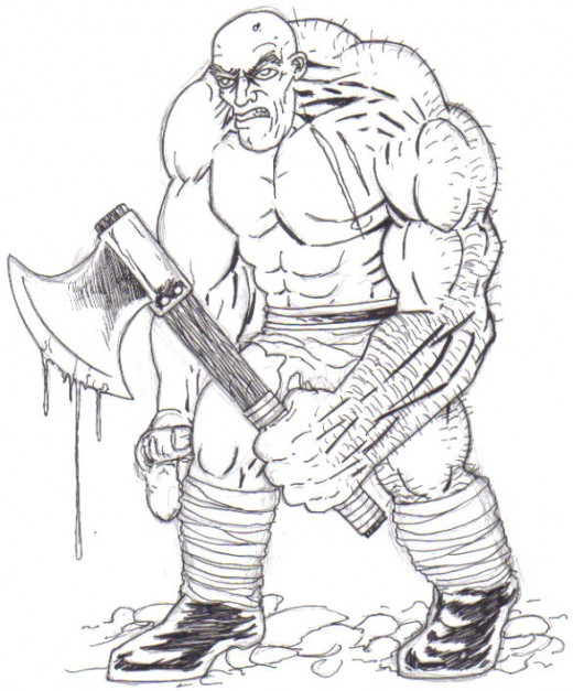 Black ink the troll sketch, all the outlined areas, everything.