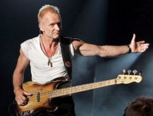 Sting playing live with his Fender Precision Bass!
