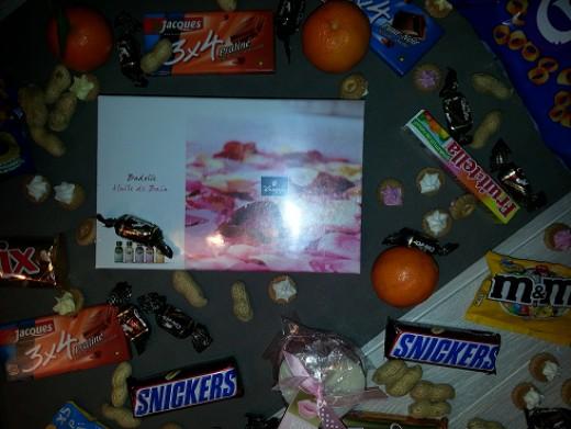Cookies, chocolate bars, ...