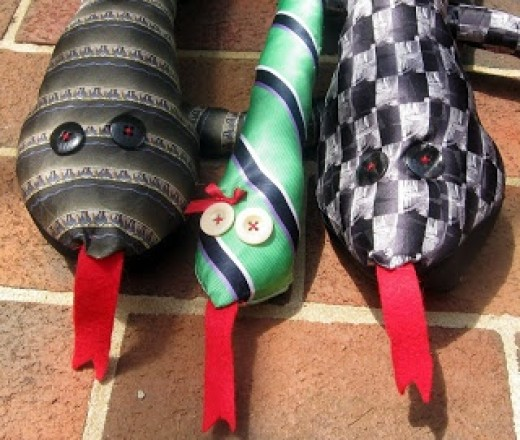 Crafty upcycled ties and one with a bow coz not all snakes are boys!