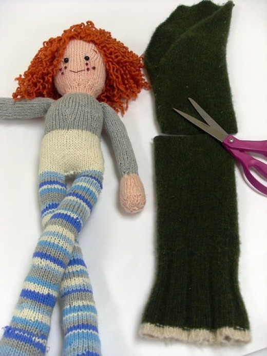upcycled wool sweaters and socks become doll clothing
