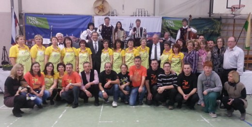 The complete performing group of Sodrazica (Slovenia)
