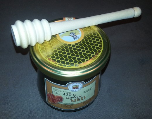 Typical Sodrazica local product: Pine Honey and Honey Stick