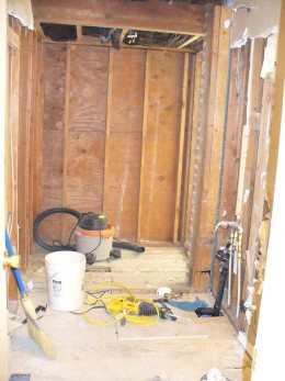 Wall out between bath and closet - space now ready for rough-in plumbing