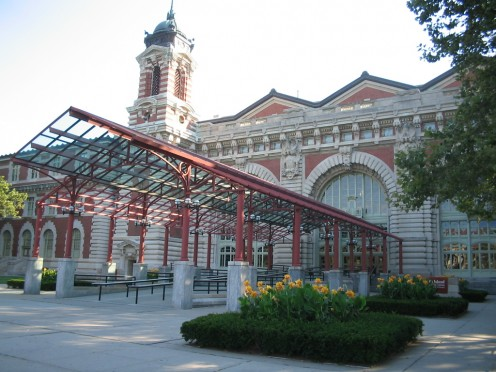 Main entrance to the Ellis Island Museum.