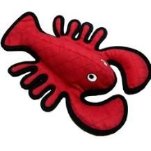 "Tuffy's Lobster you can bet looks adorable dangling from your dog's mouth but you can rest assured that with an 8 out of 10 ""Tuff Scale"" rating, he's strong enough to stand up to heavy chewing.  Retail price: $17.95"