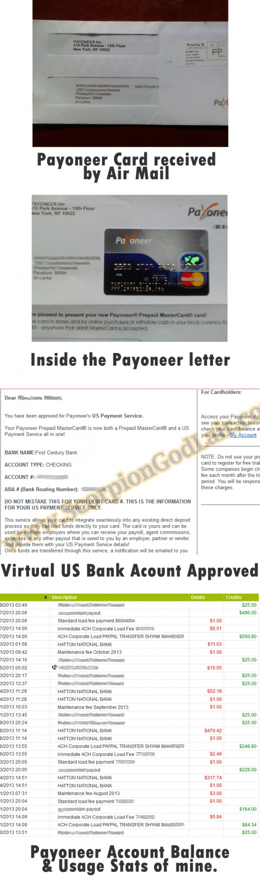 Payoneer Card Letter, Usage Stats & Other Stuff of Mine