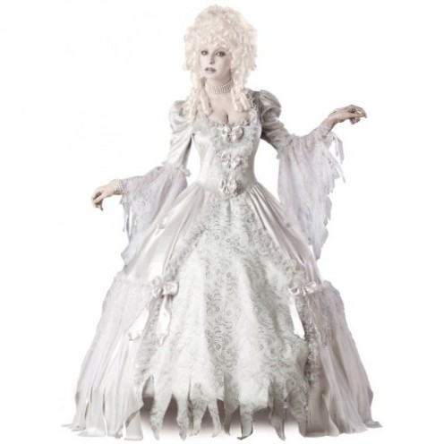 Look beautifully elegant and alluring and yet creepy with this all-white outfit. Don a white wig and wear white makeup to get that extra scary or disturbing effect