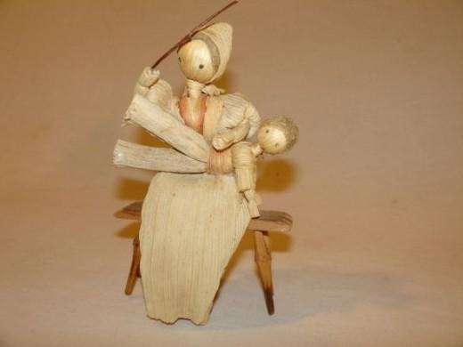 Slovokian Cornhusk Doll Mother Beating Child