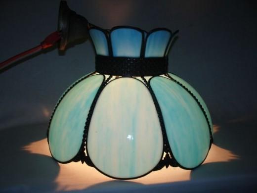 Vintage- Robin's Egg Blue Slag Glass Hanging Lamp