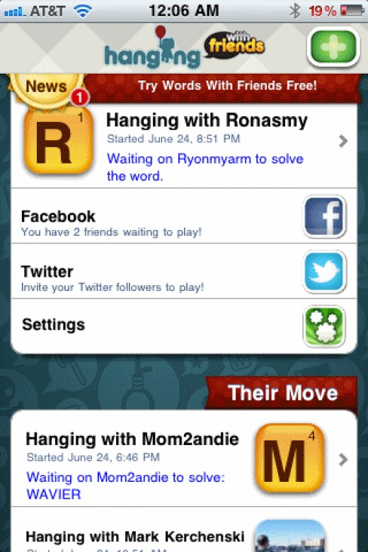 Hanging with friends app