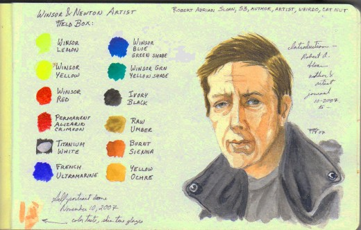 Self portrait from page one of my watercolor journal -- Robert A. Sloan, also Winsor & Newton Artist Field Box color chart.