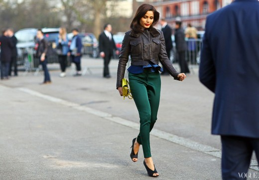 This street style looks rather corporate with green pants and black high heel stilettos.