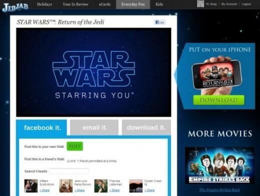 Star Wars JibJab Video card spoof