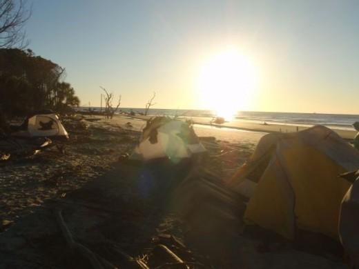 Camping on Bull Island outside Charleston, SC