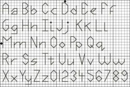 Back stitch alphabet pattern