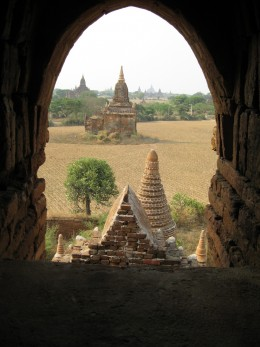 A view of Bagan from window of a temple