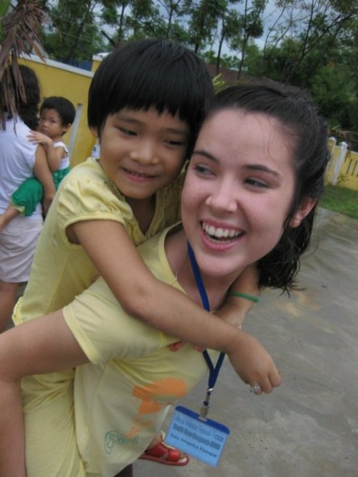Work and play with children in orphanges