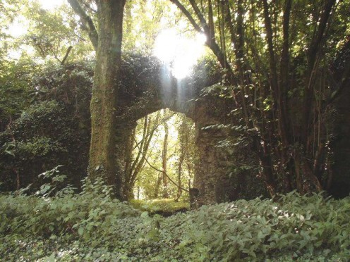 Archway at the ruin of Llan Gibby Castle hidden in the woods.Once home to a battalion of 60 troops.