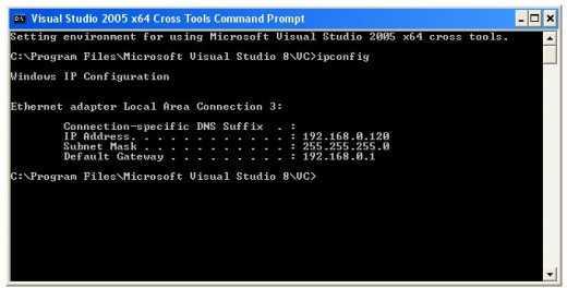 Figure 01 - The Local IP Address from Microsoft Windows