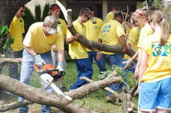 "Yellow ""Mormon Helping Hands"" T-shirts identify Latter-day Saint volunteers clearing trees and debris left by the disaster."
