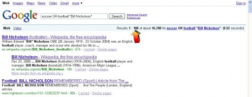 "Figure 03 - Results of the Search. ""Bill Nicholson"" and either ""football"" or ""soccer"""