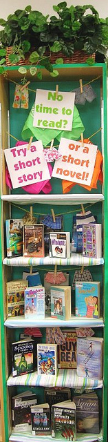 Short stories bookshelf display