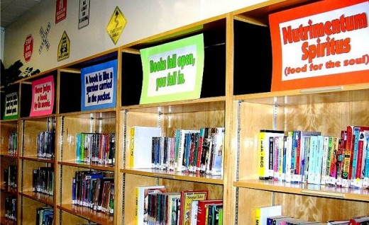 Signs placed in empty shelves
