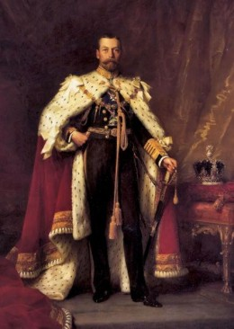 King George V - ruled from 1910 to 1936  (public domain photo from Wikipedia  http://en.wikipedia.org/wiki/List_of_British_monarchs)
