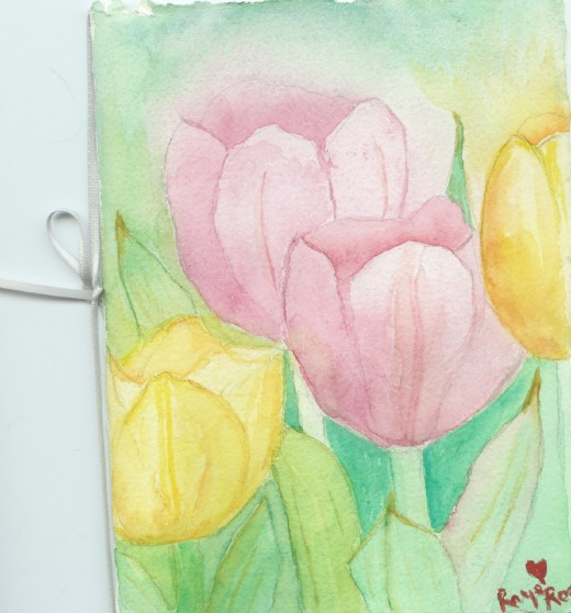 Mother's Day card I painted for my Mum Tulips her favorite flower