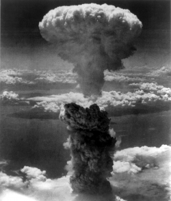 Mushroom cloud from the Nagasaki atomic bomb, August 9, 1945. Credit: U.S. Army.