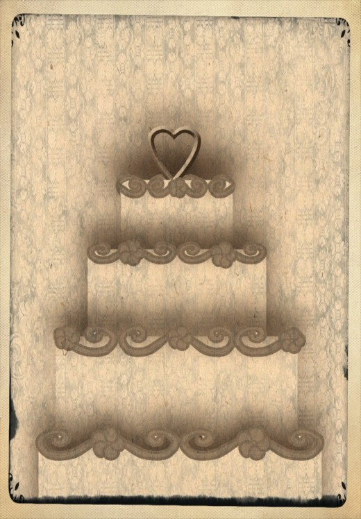 Vintage Wedding Cake Clipart