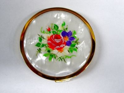 Vintage Mother Of Pearl Floral Compact - Mascot Great Britain