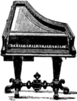 Pianoforte Cristofori, 1726. Public domain image from the Encyclopædia Britannica