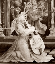 Historic representation of performance on a viola da gamba and a viola da braccio, from the Isenheimer Altar (public domain image from Wikimedia Commons)