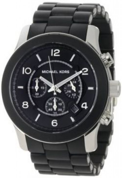Michael Kors Watches Oversized Black PU Runway