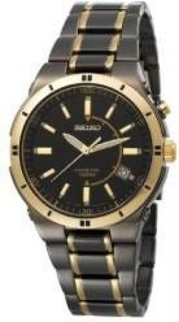 Seiko Men's SKA366 Kinetic Black Ion Watch
