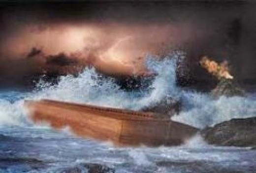 Noah navigating his ship