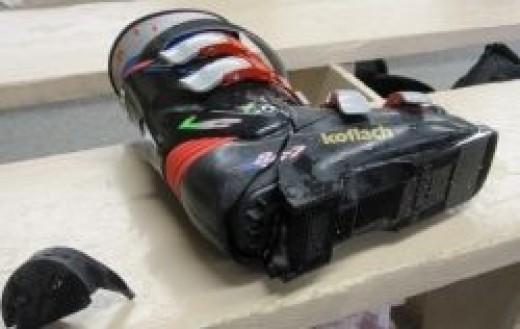 Shattered Rear Entry Ski Boot