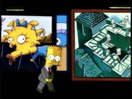 """Bart introducing a segment of """"Treehouse of Horror IV"""" in the manner of Rod Serling's Night Gallery"""