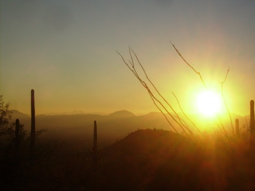 Sun setting over the Tucson Mountains as viewed from Finger Rock hiking trail.