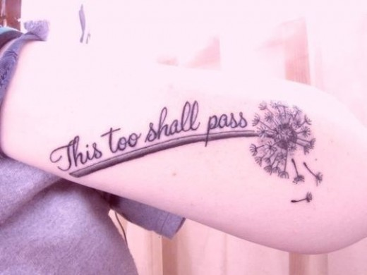 """This too shall pass"" with dandelion"