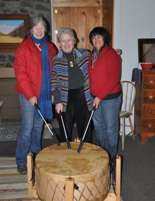 Mom (center) and her drumming buddies.