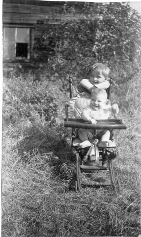Mom (front) age 1, her brother age 3.