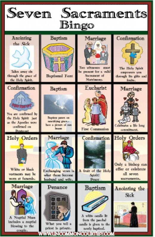 Seven Sacraments Bingo Game