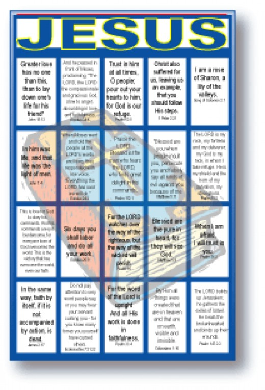Jesus Bible Verses Bingo for Large Groups