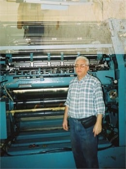Uncle Kaz on a printing press installation in Libya. OMG he's a printer too! It must be in the blood!