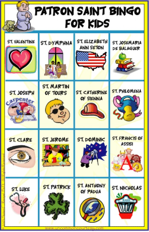 Patron Saint Bingo for Kids