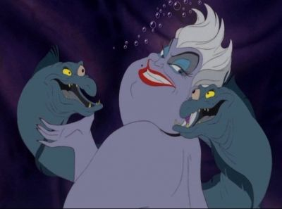 Ursula poses with Flotsam and Jetsam