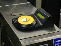 Oyster card reader for paying as you go or using an electronic travelcard